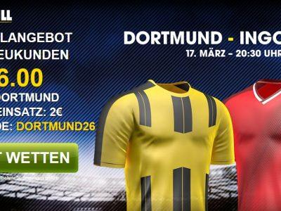 Erstklassige Wettquote von William Hill auf Borussia Dortmund im Spiel gegen den FC Ingolstadt 04